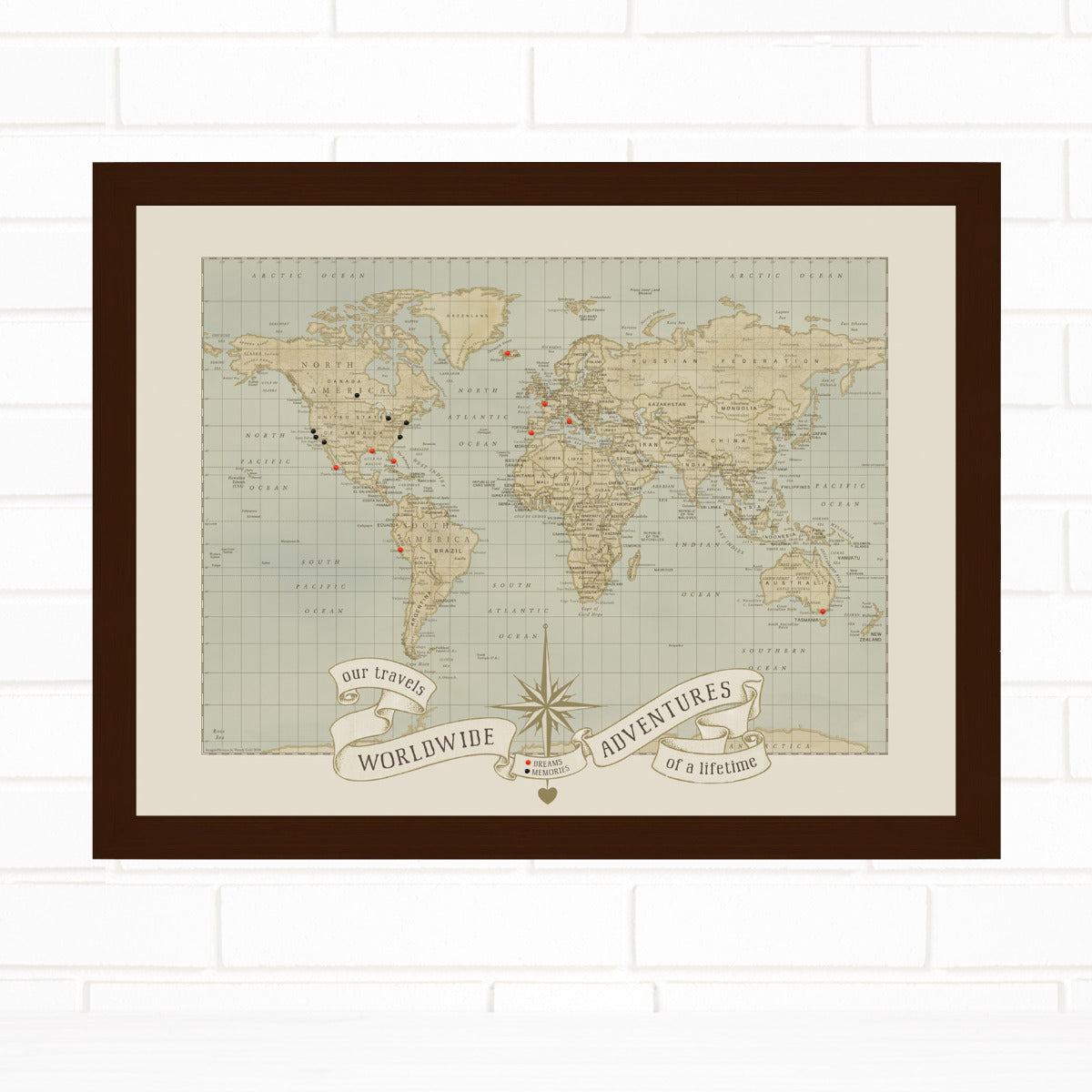 Dreams & Memories World Push Pin Travel Map Quickship by Wendy Gold
