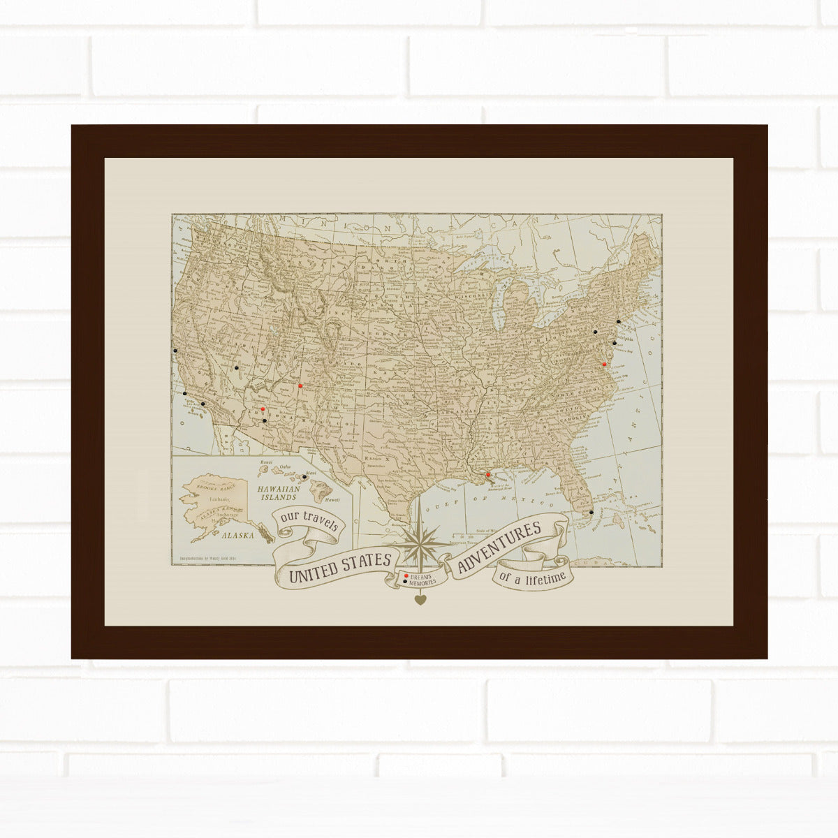 USA Push Pin Travel Map Dreams & Memories Quickship by Wendy Gold