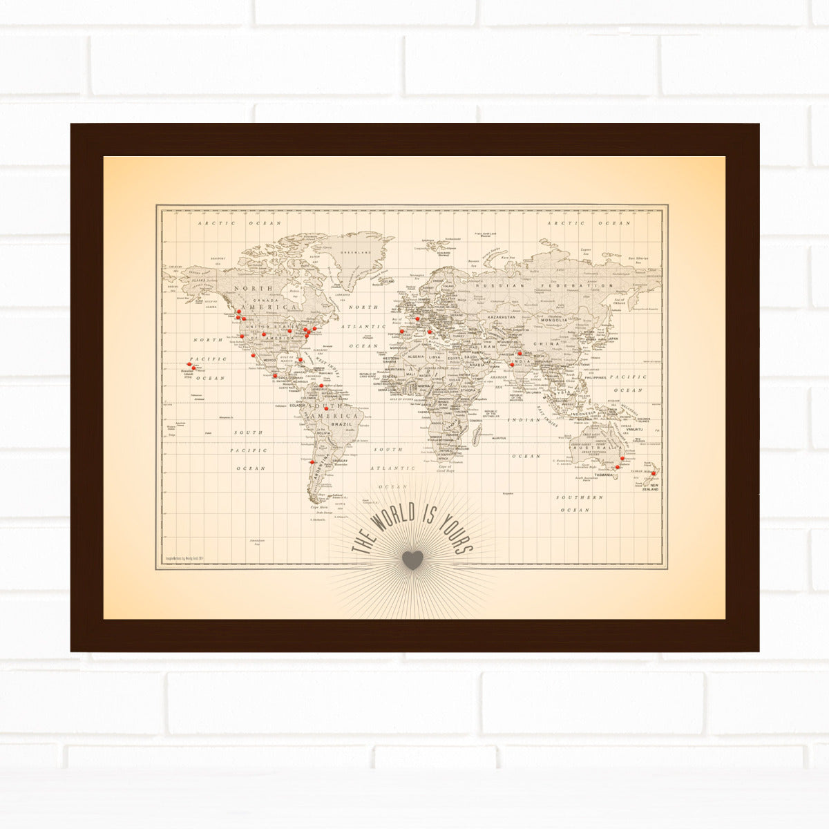 Push Pin Map The World is Yours Quickship by Wendy Gold