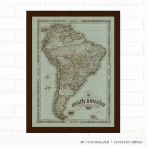 Vintage South America Travel Map with Pins by Wendy Gold