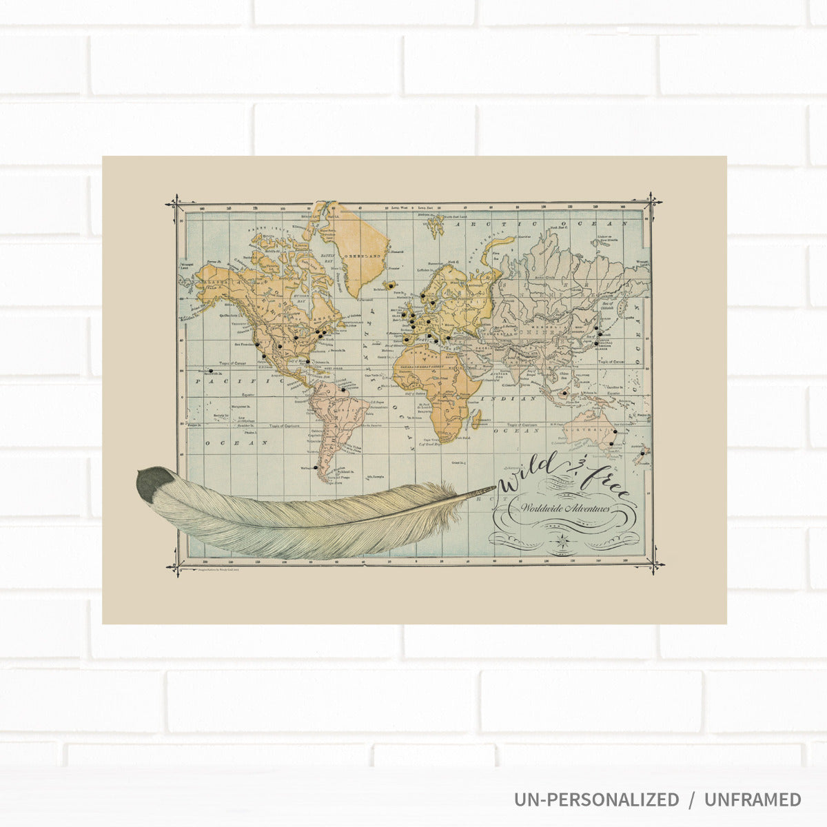 Vintage Push Pin World Map Wild & Free by Wendy Gold