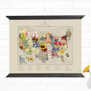 USA State Flowers Canvas Map Wall Art Print
