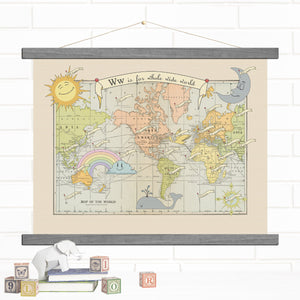 New Baby World Map Hanging Wall Art Canvas