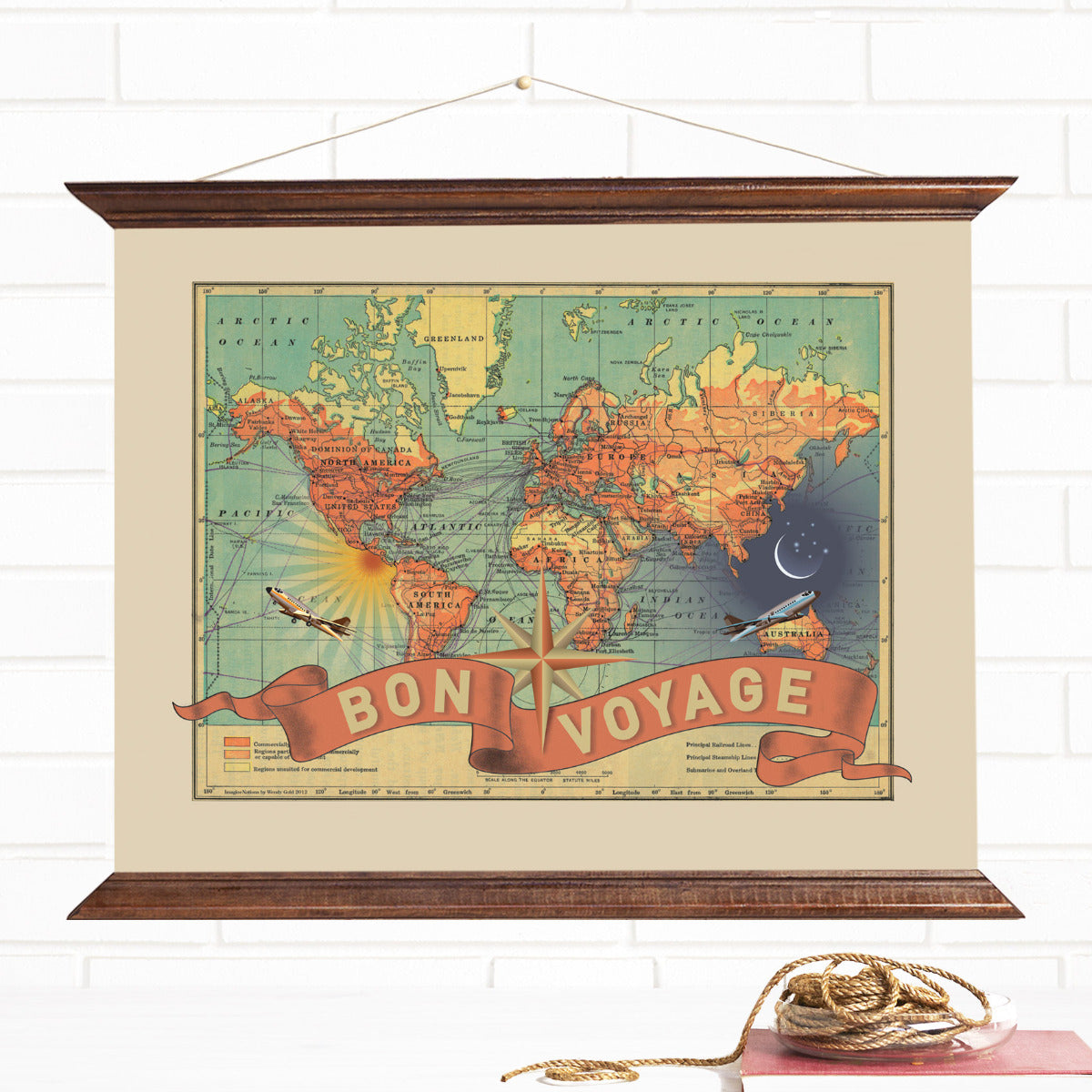 Travel Map Canvas Wall Hanging Bon Voyage