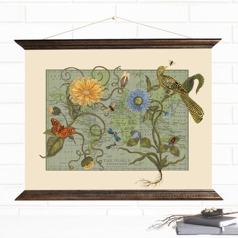 Botanical Delights Vintage Hanging Canvas Map Wall Art