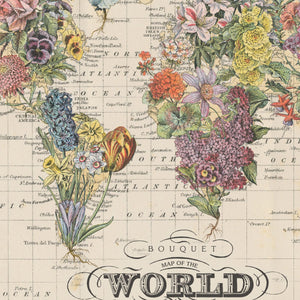 Bouquet Map of the World Hanging Wall Art by Wendy Gold