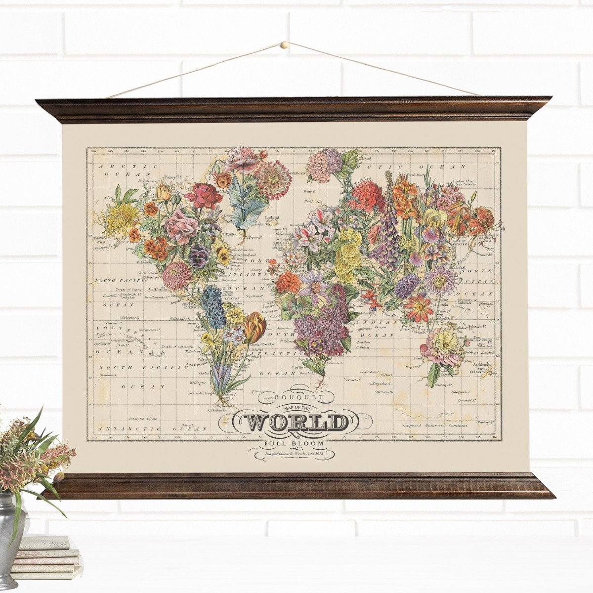 Bouquet World Map Art Canvas