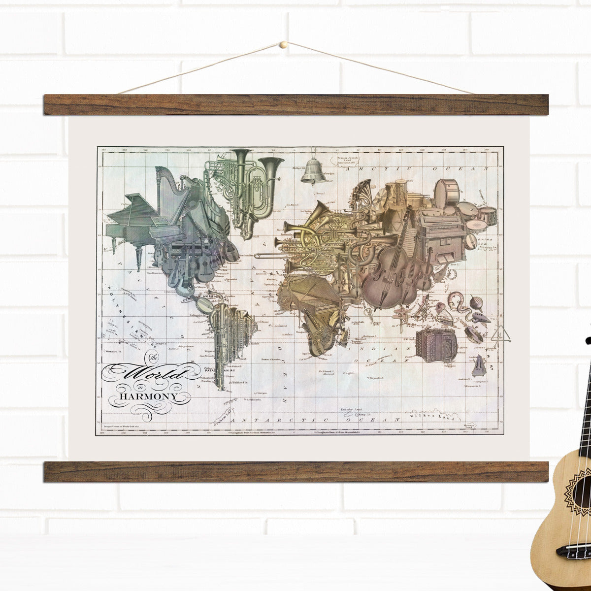 Music World Pull Down Map Wall Art by Wendy Gold