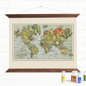World Garden Map Pull Down Wall Art Canvas