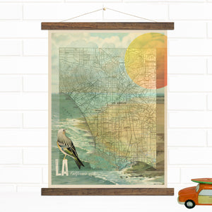 Los Angeles California Map Canvas Wall Hanging by Wendy Gold
