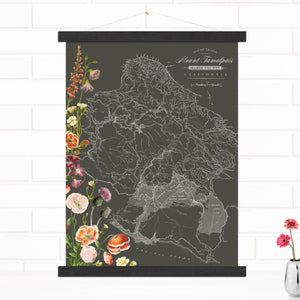 Mt. Tam Hiking Trail Map Hanging Canvas Wall Art