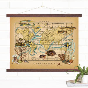 Ocean Currents Map Hanging Wall Art Canvas