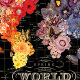 Full Bloom World Map Hanging Wall Art  by Wendy Gold