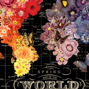 Full Bloom World Map Pull Down Art Canvas