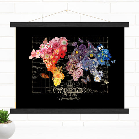 Full Bloom World Map Pull Down Style Canvas Map Art