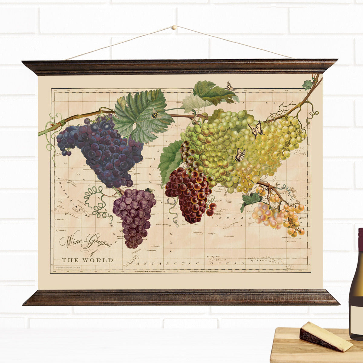 Wine Grapes Map of the World Pull Down Art Canvas