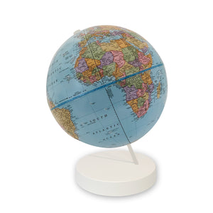 9 inch Blue Axis World Globe- white base