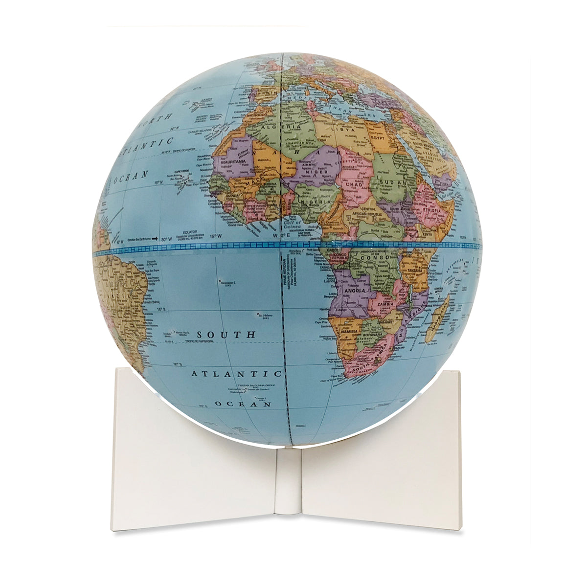 Small Blue Handheld World Globe-white base