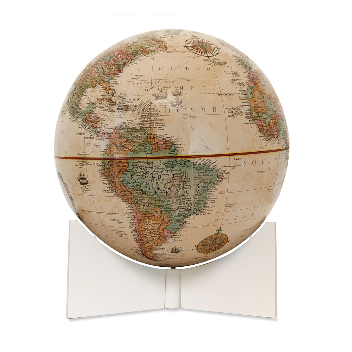 9 Inch Antique Classic Desk Globe with White Base