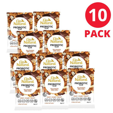Go Natural Probiotic Slab Nut Delight Milk Choc Bars 50g 10 Pack