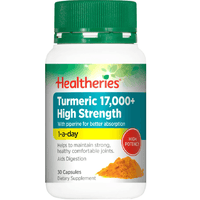 Healtheries Turmeric 17,000+ High Strength - 30 Capsules