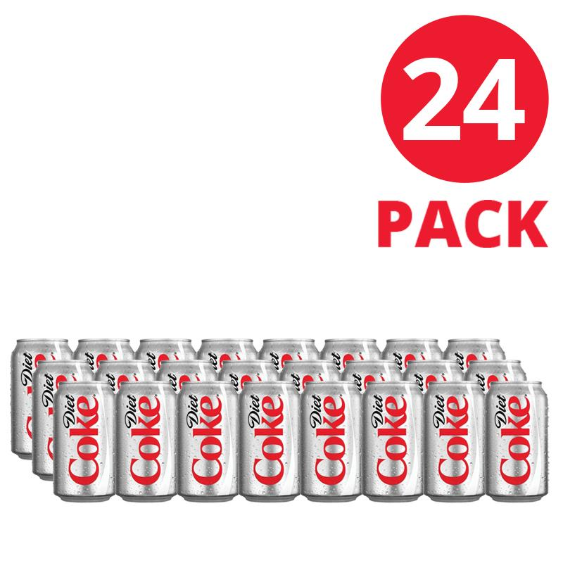 Diet Coca-Cola Soft Drink 330ml Can 24 Pack