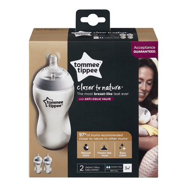 tommee tippee Closer to Nature Baby Bottle | With Anti-Colic Valve 2pk 340mL