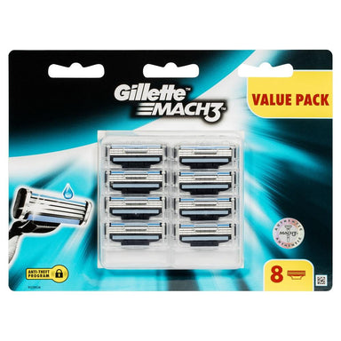 Gillette Mach3 Triple Blades Replacement Cartridges 8 Pack
