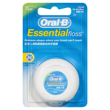 Oral-B EssentialFloss Waxed Dental Floss Mint Flavour 50m
