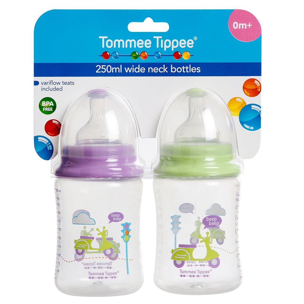 tommee tippee Wide Neck Bottle with Variflow Teat 250mL 2pk Wide Neck Bottle with Variflow Teat 250mL 2pk