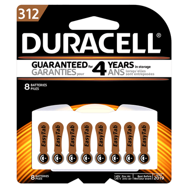 Duracell Hearing Aid Batteries 312 8-Pack