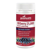 Good Health Bilberry 25,000mg Plus Lutein 6mg - 60 Capsules