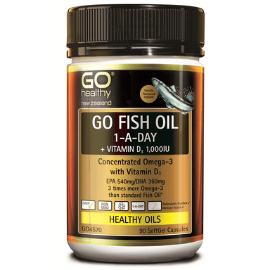 GO Healthy GO Fish Oil 1-a-Day + Vitamin D3 1,000 IU - 90 Softgel Capsules