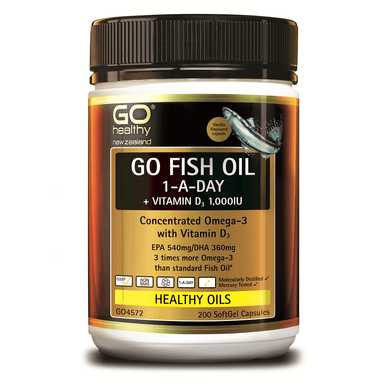 GO Healthy GO Fish Oil 1-a-Day + Vitamin D3 1,000 IU - 200 Softgel Capsules