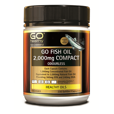 GO Healthy GO Fish Oil 2,000mg Compact Odourless - 230 Softgel Capsules