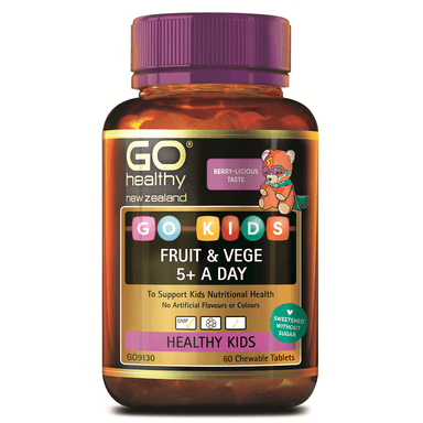 GO Healthy GO Kids Fruit & Vege 5+ a Day - 60 Chewable Tablets