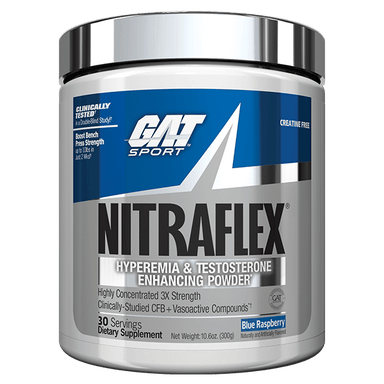 GAT Sport Nitraflex Hyperemia & Testosterone Enhancing Powder 30 Servings - Blue Raspberry