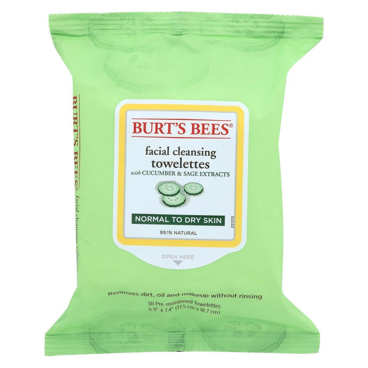 Burt's Bees Cleansing Towelette Cucumber & Sage | 30 Sheets