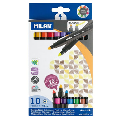 Milan Markers Bicolor Double Ended Tip Pens 10 Pack 20 Assorted Colours