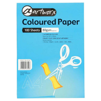 Artworx Coloured Paper A4 80gsm 100 Sheets Assorted