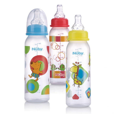 Nuby Printed Standard Neck Bottles 240mL 3pk