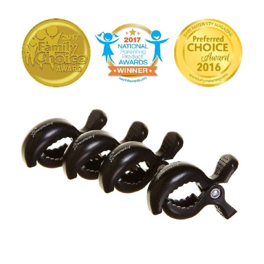 dreambaby Stroller Clips 4pk (Black)