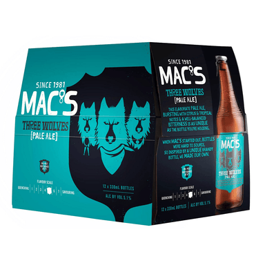 MAC'S Three Wolves Beer 330mL Bottle 12 Pack