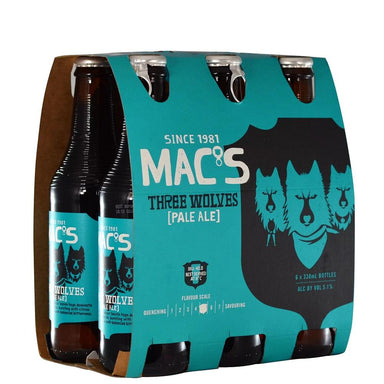 MAC'S Three Wolves Beer 330mL Bottle 6 Pack