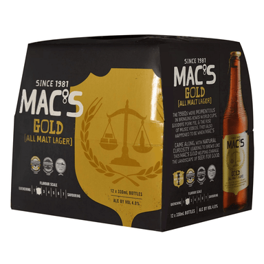 MAC'S Gold Beer 330mL Bottle 12 Pack