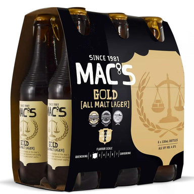 MAC'S Gold Beer 330mL Bottle 6 Pack