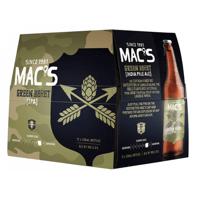MAC'S Green Beret Beer 330mL Bottle 12 Pack