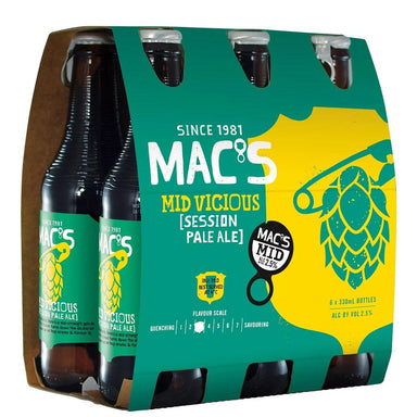 MAC'S Mid Vicious Beer 330mL Bottle 6 Pack