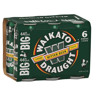 Waikato Draught Bitter Beer 440mL Can 6 Pack