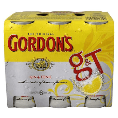 Gordon's Gin & Tonic 250mL Can 6 Pack